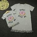 2016 платья летние пончик печатных кисточкой соответствия мать дочь платье Большой размер леди малышей семья одежда Vestidos