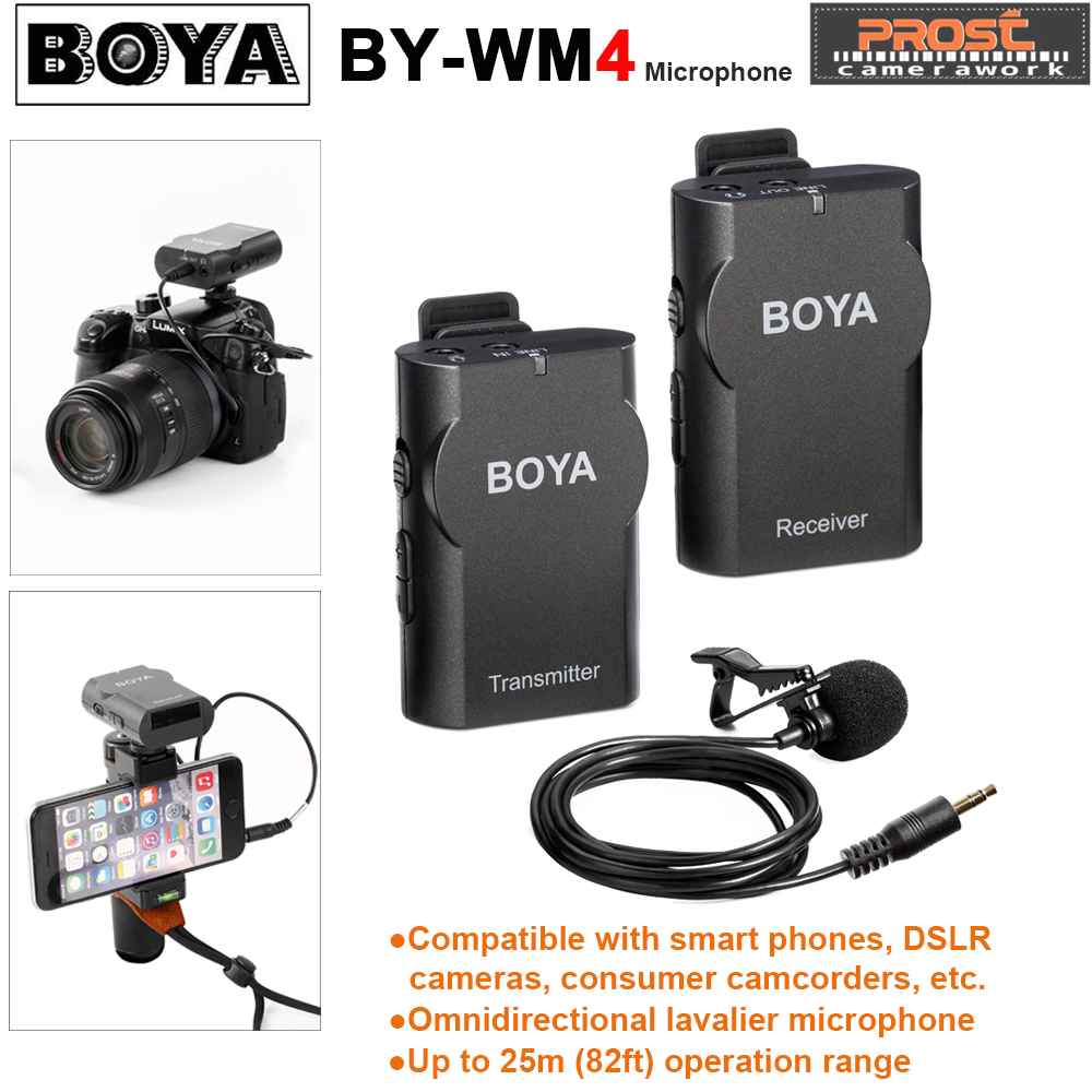 BOYA BY-WM4 Professional Wireless Microphone System Lavalier Lapel DSLR Camera Camcorder Mic For iPhone For Android Cell Phone uwp d11 wireless bodypack lavalier mic system microphone shotgun with smad p3 shoe adapter for sony camera replaces uwp v1