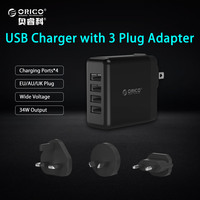 ORICO 4 Ports USB Travel Charger with Converter EU UK AU Plug 5V6.8A34W Wall Charger for iPhone Samsung Xiaomi Huawei