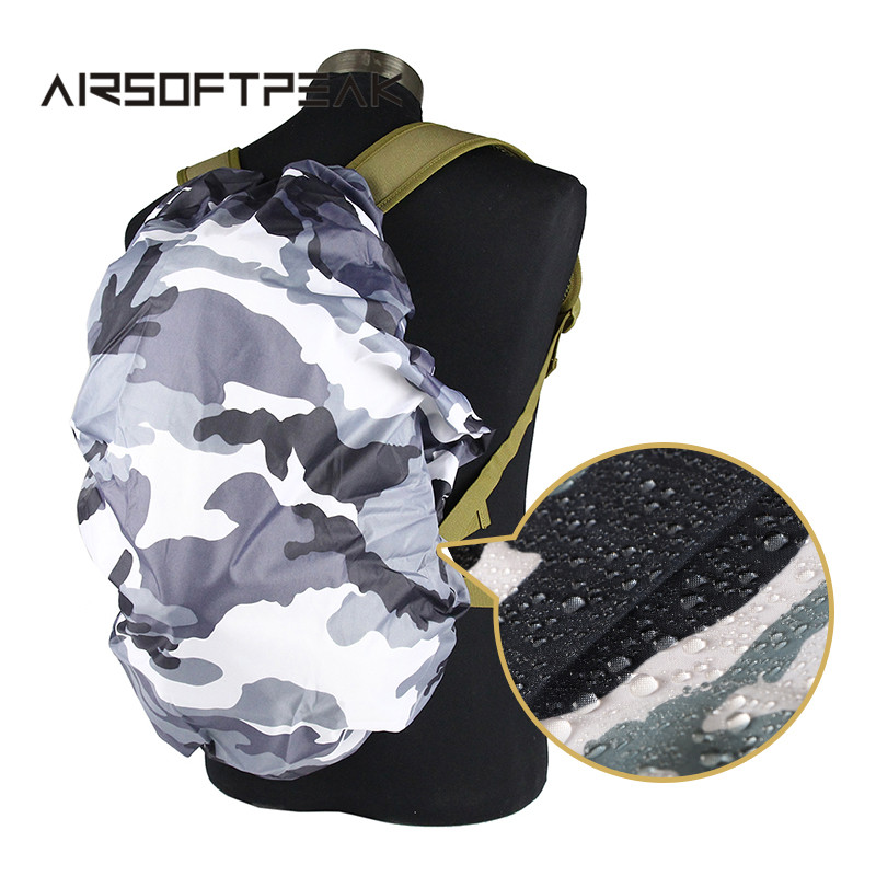AIRSOFTPEAK 25L-40L Backpack Dust Rain Cover Waterproof Rucksack Bag Covers Camouflage Nylon Case For Hunting Camping Hiking 210d rain bag 30 40l protable nylon waterproof backpack anti theft outdoor travel camping hiking cycling dust rain cover