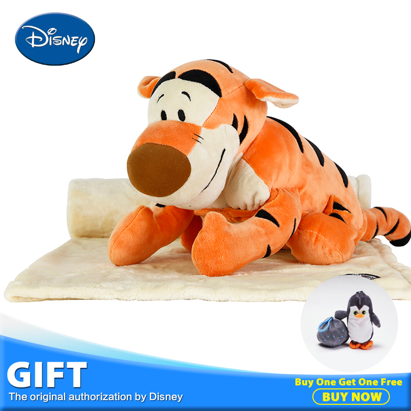 Disney Tigger Plush Toy Stuffed Doll Three-function Pillow Cushion+Rest Sleeping Blanket+Toys Peluches Children Juguetes disney master car children plush toy peluches stuffed doll with rest blanket kids pillow cushion toys christmas birthday gifts