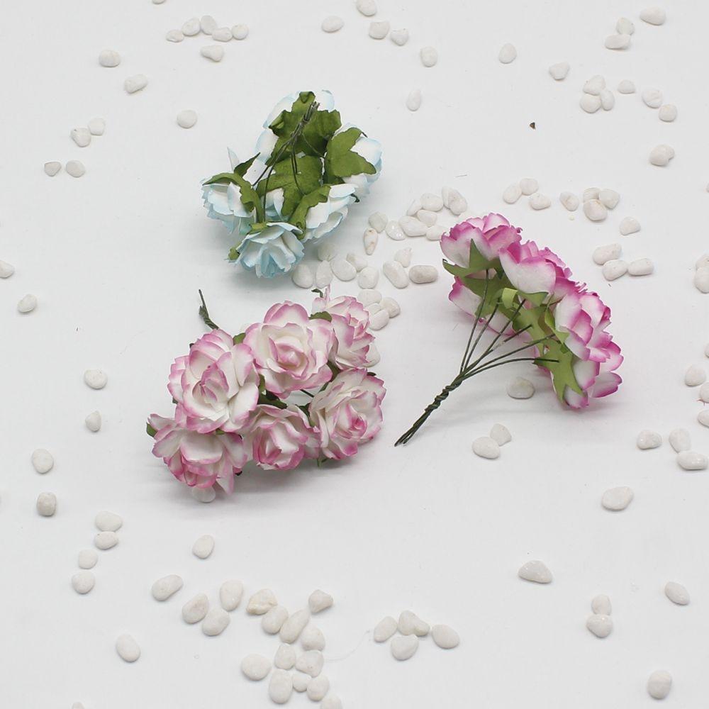 Nuevo 12 Unids Lote Mini Rosas Artificiales Ramo De Flores De