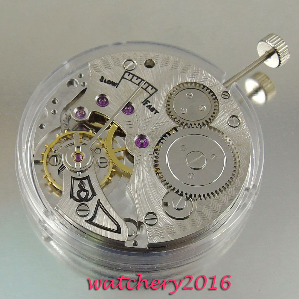 Vintage 17 Juwelen 6498 Mechanische Hand Winding rvs heren Horloge Beweging-in Horloge Voorkant van Horloges op  Groep 1