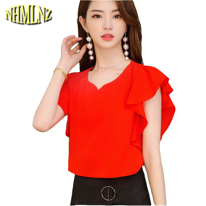 Fashion Women Chiffon Shirt Solid color 2019 Summer New Butterfly Sleeve Females Blouses Casual Loose Shirt Thin Tops WUN1475