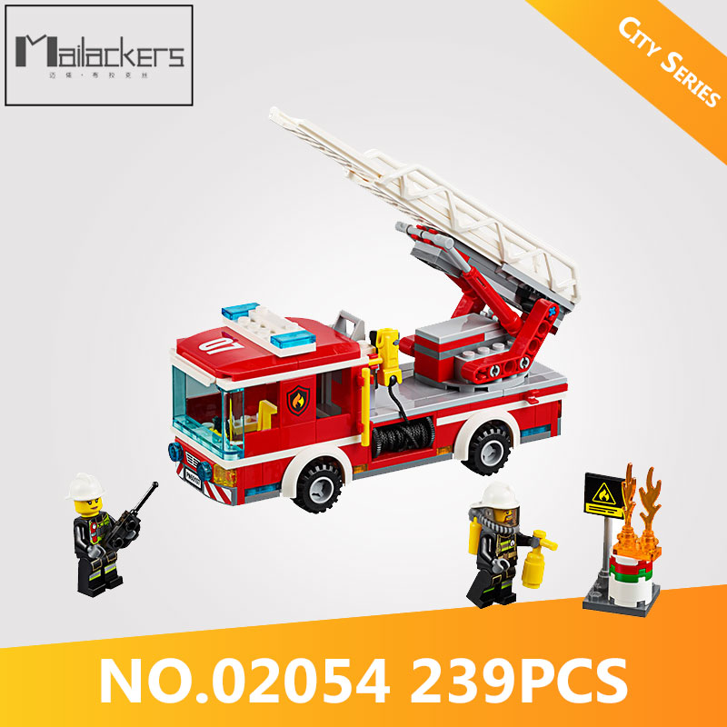 Imported From Abroad Mailackers 02054 239pcs Legoing City Series The Ladder Fire Truck Set Model Building Blocks Birthday Gifts Diy Toys For Children Utmost In Convenience Model Building