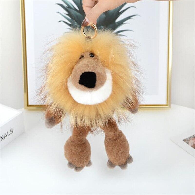 Nouveau fourrure de raton laveur fourrure lion pendentif Ao d'agneau lion roi sac voiture ornements ornements de poupée en peluche