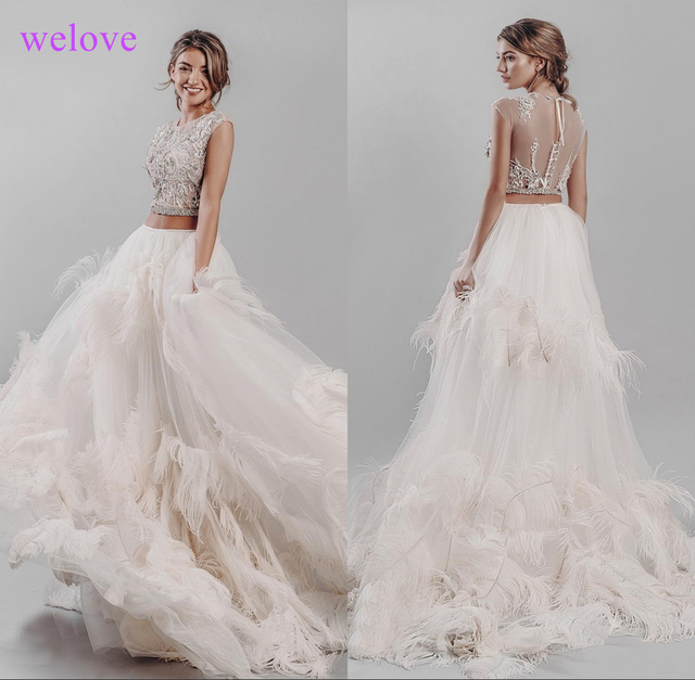 New arrival 2020 Luxurious Feather Wedding Dress sexy transparent top Bridal gown custom made skirt with flowers and feathers