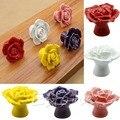 Rosa de Cerâmica Flor Do Vintage Puxadores Puxador de Gaveta Maçaneta Da Porta Do Armário de Porcelana