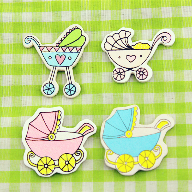 16pcs wooden baby car sticker children kids painted adhesive back diy craft home party holiday decoration
