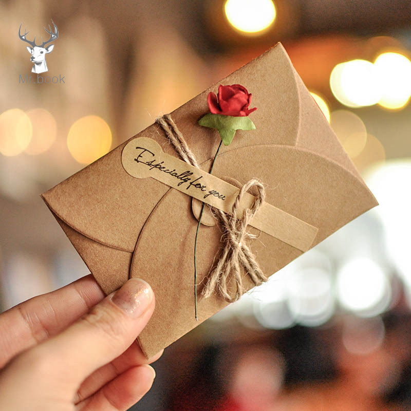 6pcs/lot DIY Kraft Paper Invitation Greeting Card With Envelope Handmade Dry Flower Wedding Party Invitation Envelopes L Size