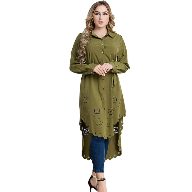 Malaysia 6xl Plus Size Women Blouse Muslim Full Sleeve Buttons Hollow Flower Asymmetry Oversized Long Blouse Femme Remeras Mujer