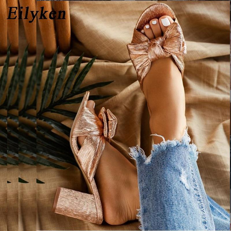 Eilyken Summer Women High Heels Mules Slippers Female Peep Toe Stiletto Heels Slippers Golden Shoes Plus Size 35-42