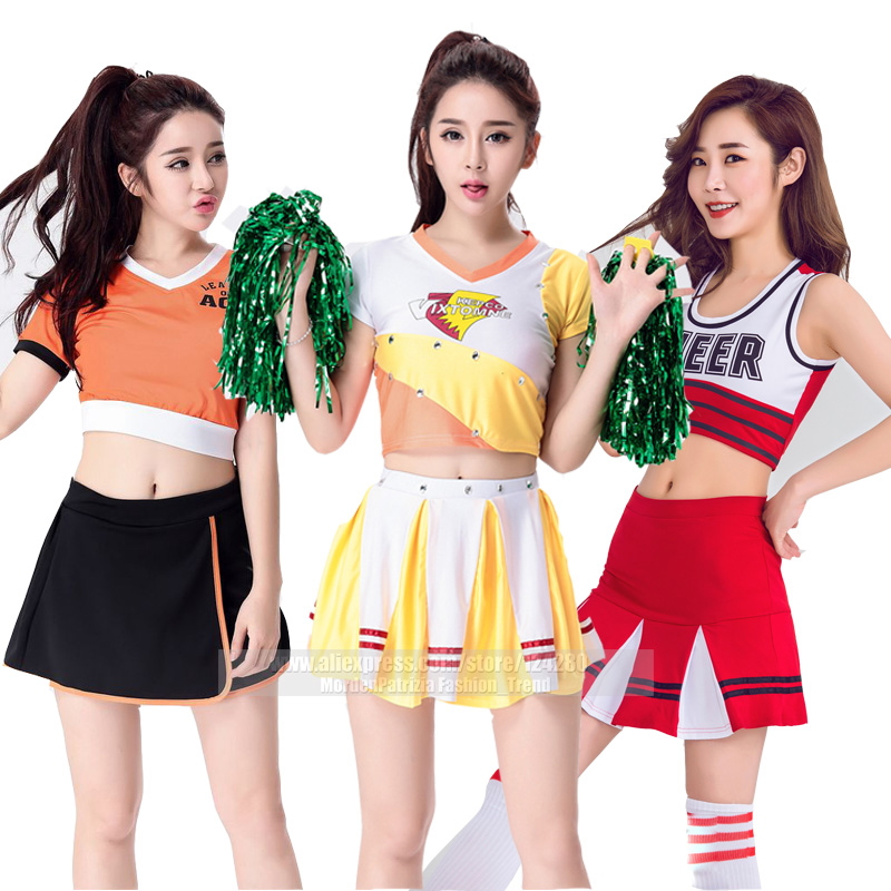 Orange color Classic Pure <font><b>School</b></font> Girl Costume Cheerleader Dirndl Korean <font><b>Japanese</b></font> NOWCOS <font><b>Sexy</b></font> Cosplay <font><b>School</b></font> <font><b>Uniform</b></font> image
