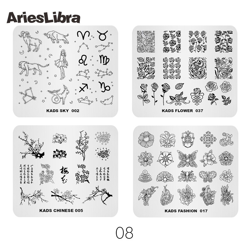 AriesLibra 4PCS Nail Stamping Plates Animal Flowers Patterns Nail Art Decoration Templates Nail Stencil Plates of Polish Tool