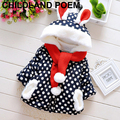 0-4 age baby children outerwear cotton winter baby girls clothes outertwear fleece hooded thick baby  girls jacket with scarf