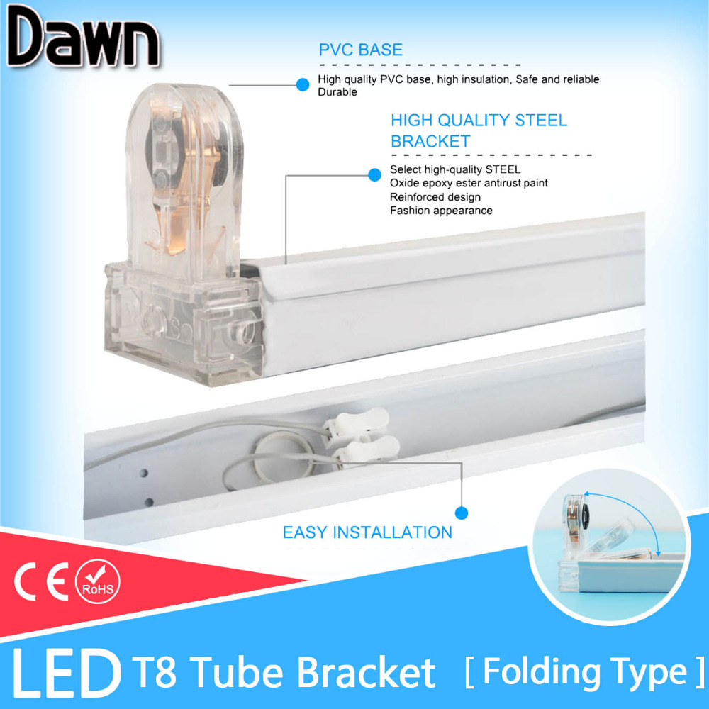 Free Shipping Folding Tube Bracket For 2Ft LED T8 Tube Fluorescent Light 0.6m 60cm 600mm Fixture/Holder/Stent/Connection/Support energy savingt8 60cm led 10w fluorescent 40w equivalent tube replacement fluorescent lamp fixture no ballast no uv