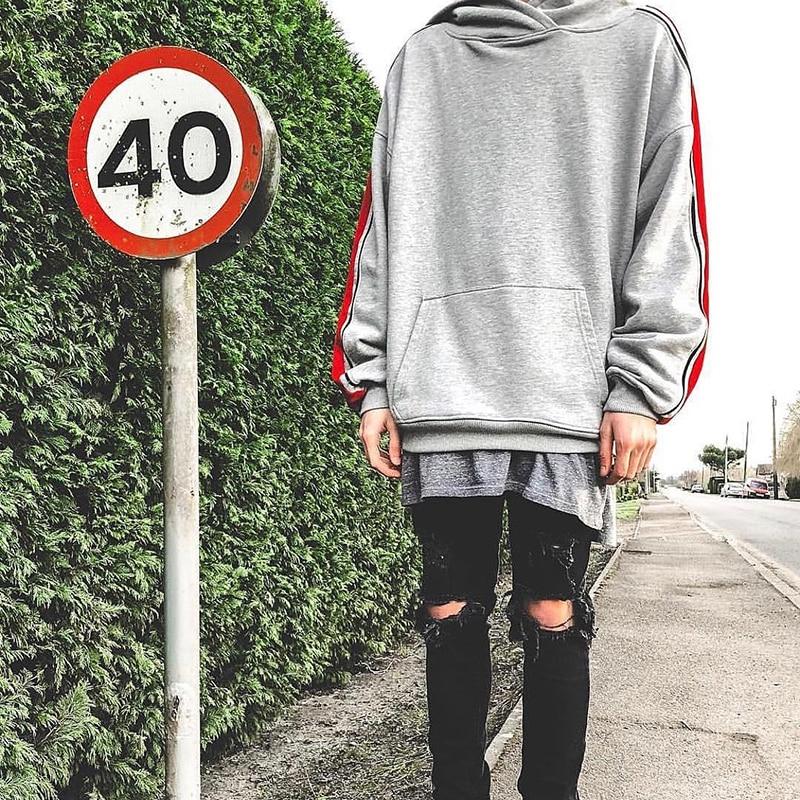 Noir Capuchon Europe ardoisé Street Tendance Vintage Chaîne À Hoodies Côté Rayé Hip Hommes Patchwork Amérique Vêtements hop Pull High Kanye Et YxRIYH