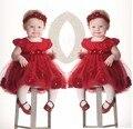 Цветок девочки платья для свадьбы детей младенческая малышей красная роза принцесса dress + головные уборы vestido де festa para bebe