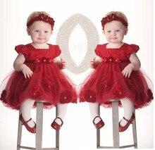 Fleur filles robes pour la partie de mariage bébés infant toddler rouge rose princesse dress + chapeaux robe de festa para bebe