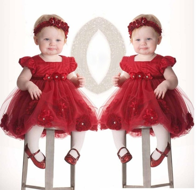 a6bdf413866f Flower girls dresses for party wedding babies infant toddler red rose  princess dress+headwear vestido