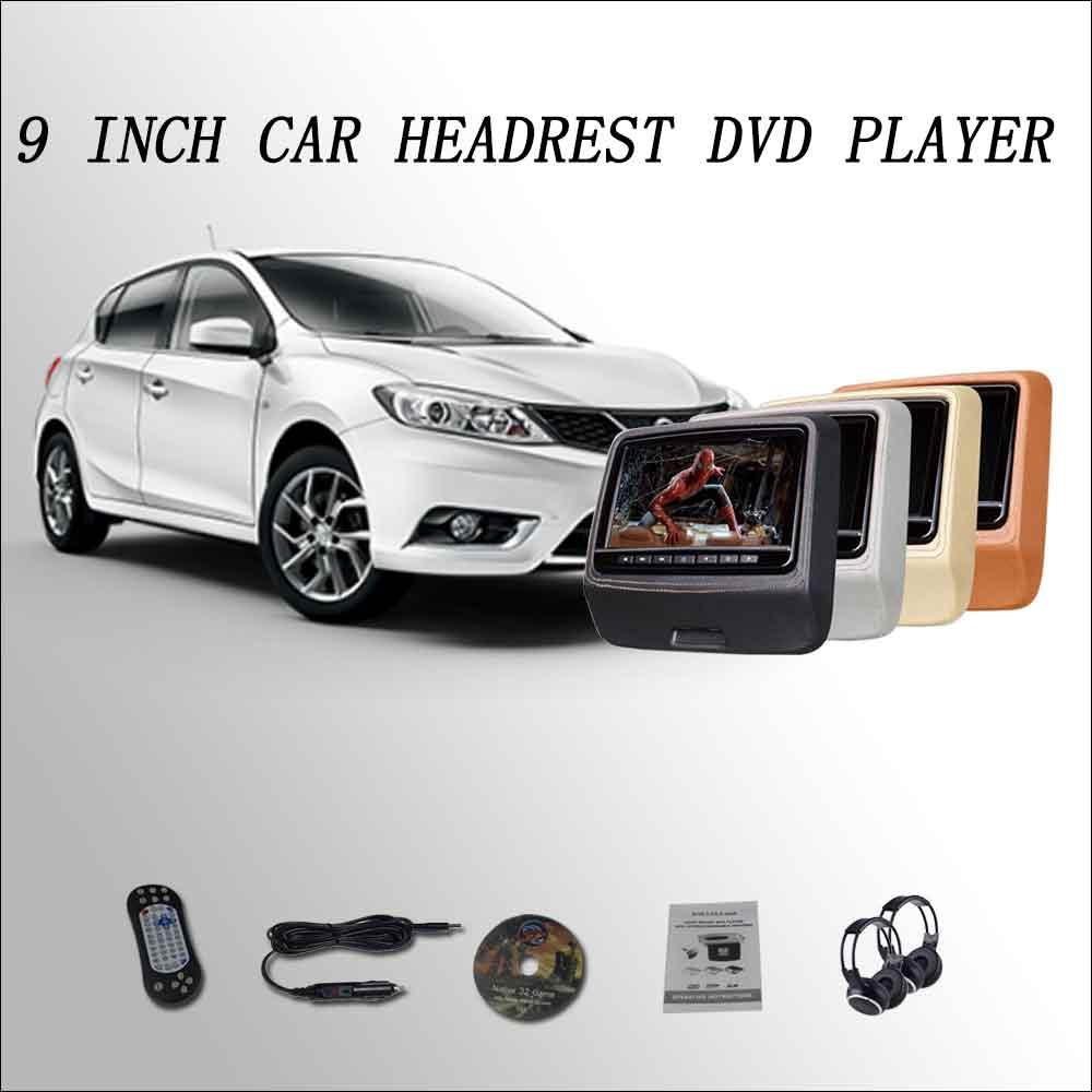 BigBigRoad Car Headrest Monitor digital LCD screen 2*9 DVD player with USB SD IR / FM / SPEAKER / GAME / HDMI For Nissan Tiida