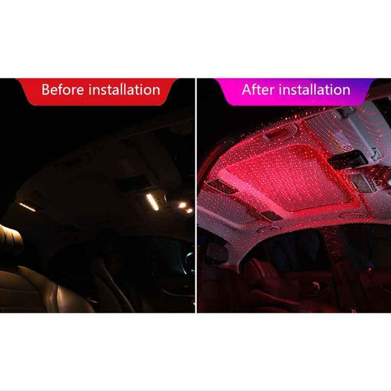 Mobil USB LED Mobil Suasana Ambient Cahaya Bintang DJ RGB Warna-warni Suara Musik Lampu Natal Interior Dekoratif