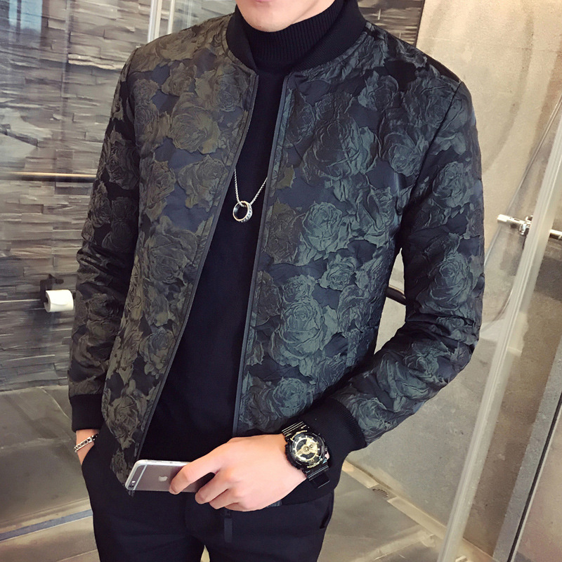 2018 Autumn New Jacquard Bomber Jackets Men Luxury Wine Red Black Party Jacket Outfit Club Bar Coat Men Casaca Hombre