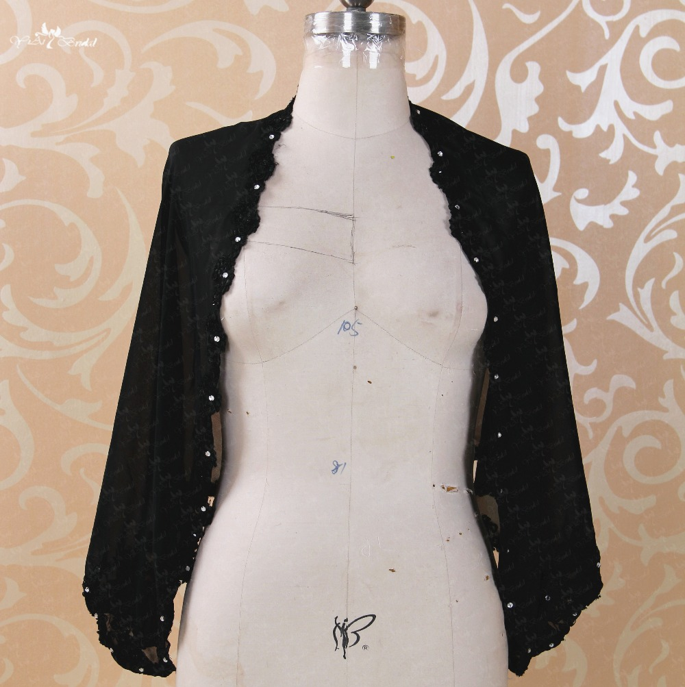 US $68.0 |RSJ92 Long Sleeve Lace Black Chiffon Bolero Women Plus Size-in  Wedding Jackets / Wrap from Weddings & Events on Aliexpress.com | Alibaba  ...