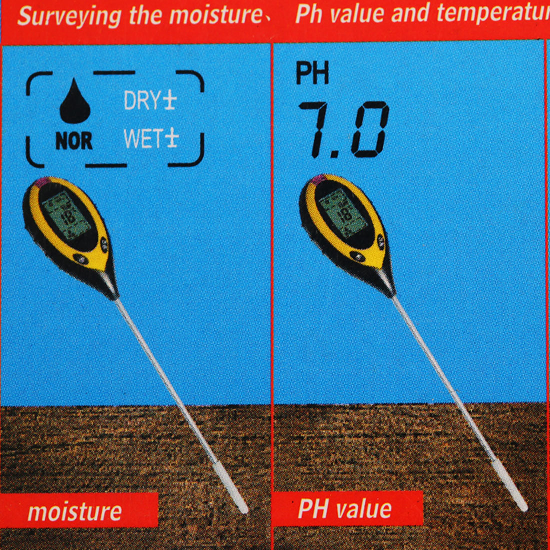 New 4 in 1 Plant Soil PH Moisture Light Soil Meter Thermometer Soil Survey Instrument PH Value Sunlight Tester Hot Wholesale mc 7806 digital moisture analyzer price with pin type cotton paper building tobacco moisture meter