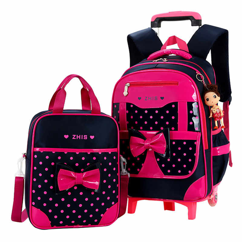 Children school bags for Girls Bow Cute Detachable Trolley Backpack Kids travel luggage book bag Schoolbag Mochilas Escolares