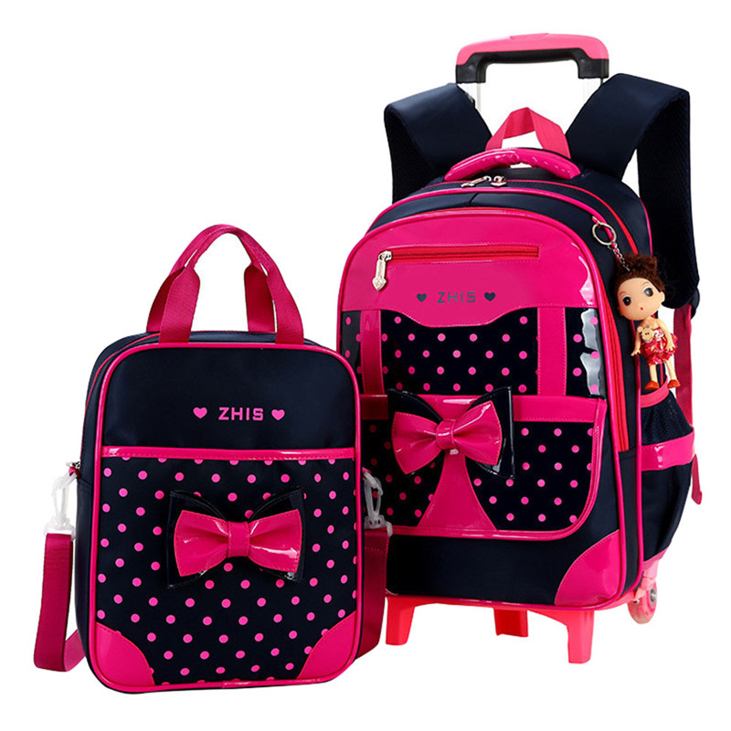 Children school bags for Girls Bow Cute Detachable Trolley Backpack Kids travel luggage book bag Schoolbag