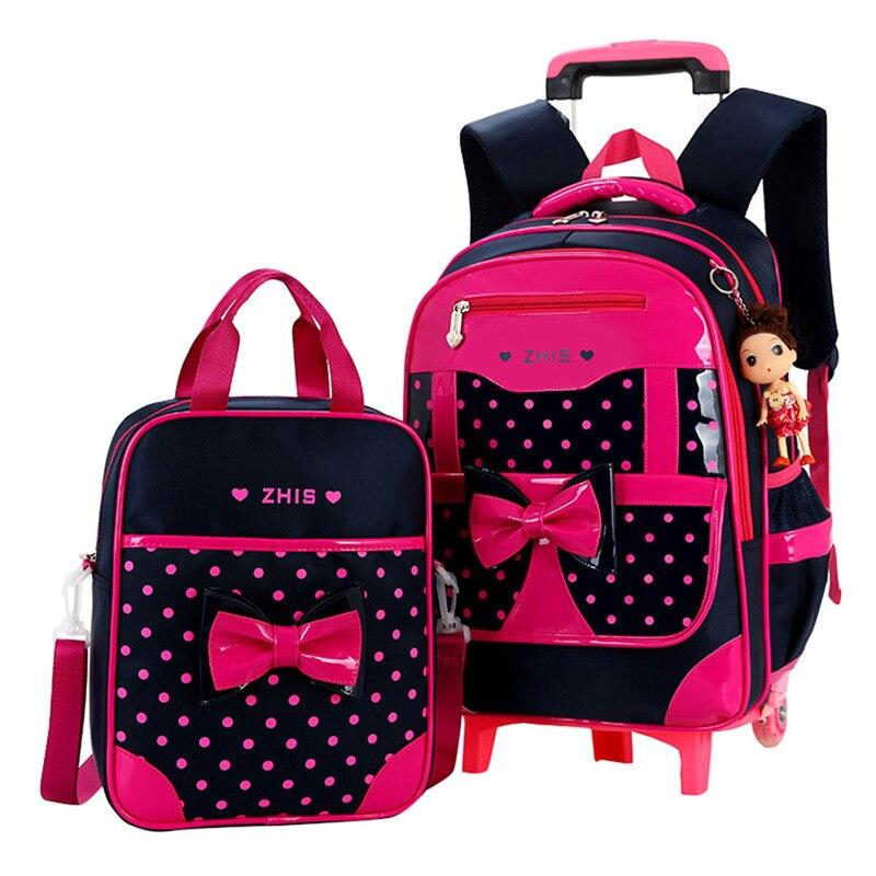 Kinderen schooltassen voor Meisjes Boog Leuke Afneembare Trolley Rugzak Kids travel bagage boek schooltas Mochilas Escolares-in Schooltassen van Bagage & Tassen op  Groep 1