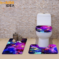 HUGSIDEA 3D Space Galaxy Print Toilet Seat Cover for Bathroom Non slip Mat Soft Warm Washable WC Seat Cover Toilet Cushion