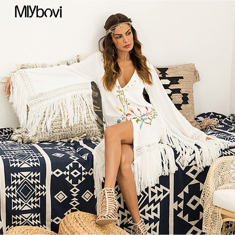 Sleeve Spring Out Embroidery With Fashion Short 2019 Dress Hollow Vestidos Dresses Neck Tassel V Elegant Women White Loose t7qwxqnT50