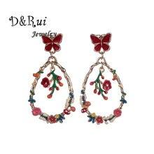 Flower Dangle Earring Drop Statement Earrings Woman Butterfiles Women's Hanging Enamel Butterfly Geometric Jewelry for Girls