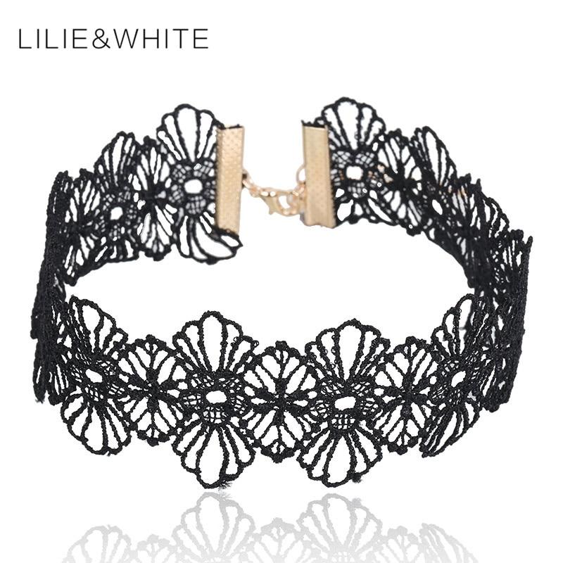 LILIE&WHITE 2017 new Fashion Punk Gothic collar Choker Necklace Boho Black Lace maxi statement necklace women Jewelry wholesale