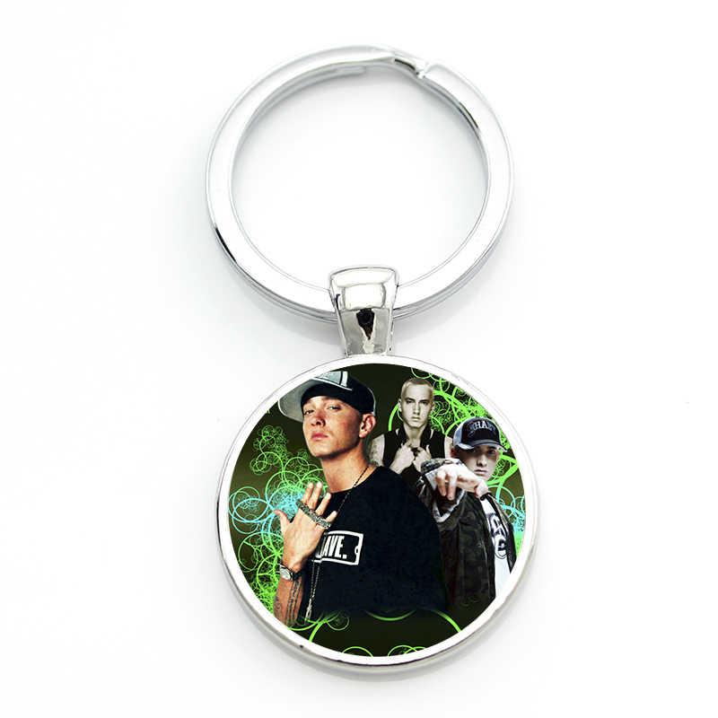 TAFREE rocznika Eminem brelok mężczyźni kobiety fajne hip-hop Rap singer szkło cabochon brelok do kluczy pierścień uchwyt na samochód torba biżuteria CT32