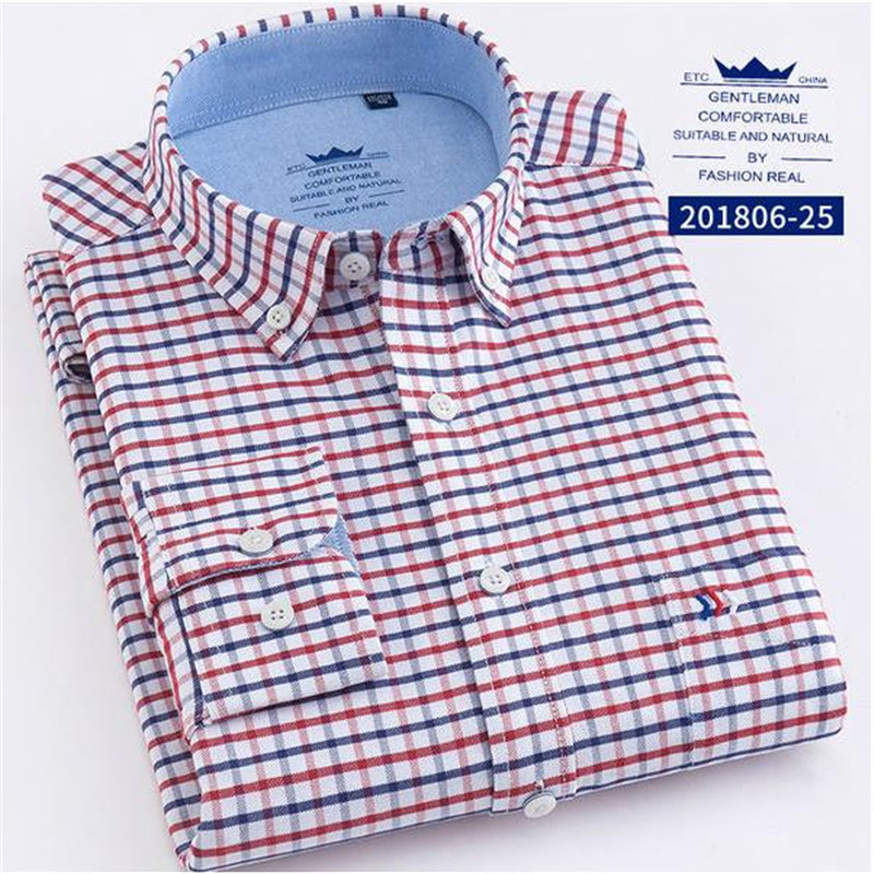 2018 Men's Long Sleeve Oxford Dress Shirtwith Oxford Wash Plaid Shirts 100% Cotton Casual Design Men's Dress Shirts