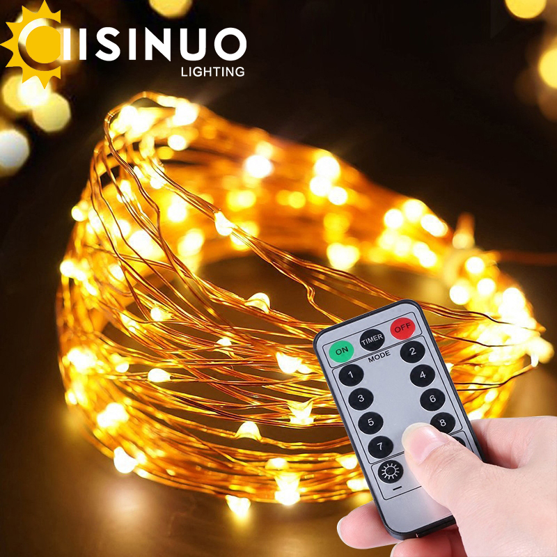 IISINUO 10M LED String Light Copper Wire Lights waterproof 12V Power Adapter with remote controller Christmas Wedding Decoration