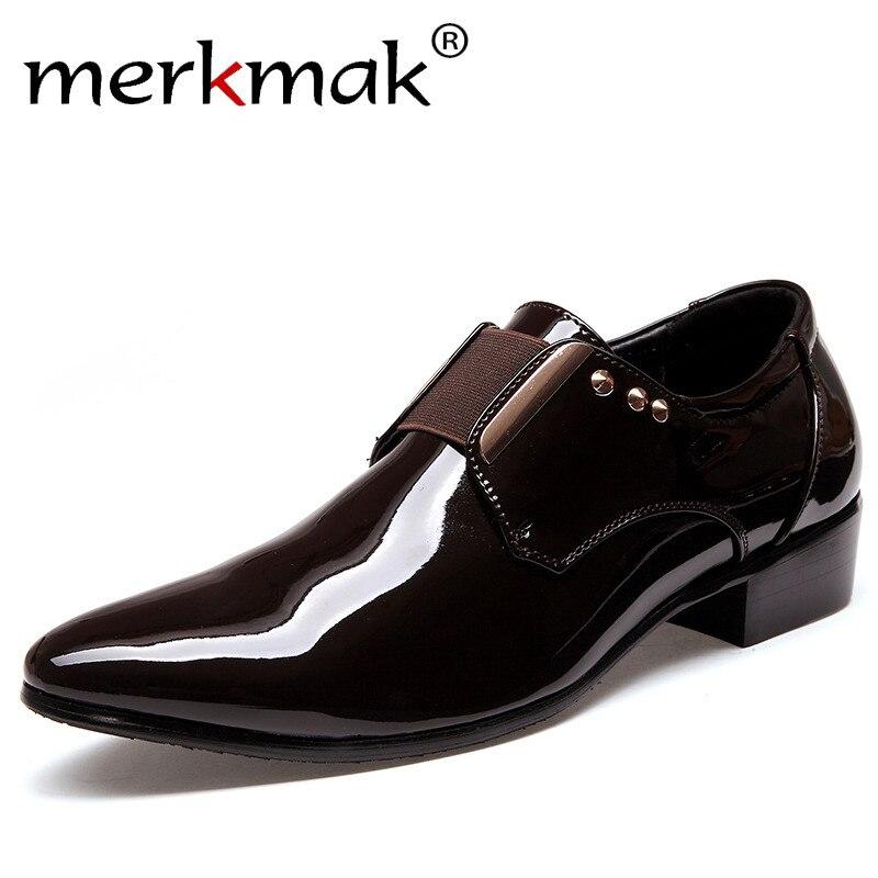 Merkmak Luxury brand Patent Leather Men Business Dress Shoes Black Brown Oxford Shoes Breathable Formal Wedding Footwear mycolen mens shoes round toe dress glossy wedding shoes patent leather luxury brand oxfords shoes black business footwear