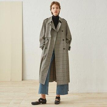 New Arrival Autumn 2018 long oversize vintage plaid trench coat women