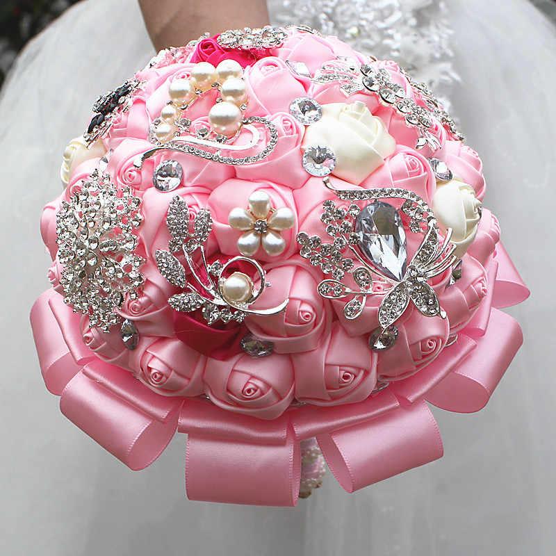 JaneVini 光沢のあるラインストーンクリスタル結婚式の花嫁の花束ピンクの花ブライダルブーケクリスタル真珠ビーズ手の花束 2019