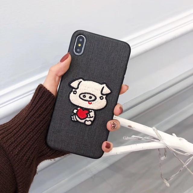 Para iphone 6s funda estilo chino bordado lindo cerdo teléfono funda para iphone 6 7 8 plus y iphone x xr xs max cubierta