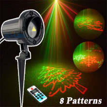 8 Patterns Outdoor Christmas Holiday Snowflake Lights Laser Projector Home Decoration Double Color Waterproof IP68 With Remote