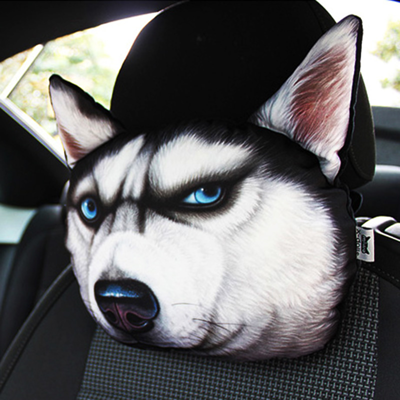 Car Headrest auto headrest Lovely 3D Printed Animals Face car Seat Covers Neck Auto Safety Headrest