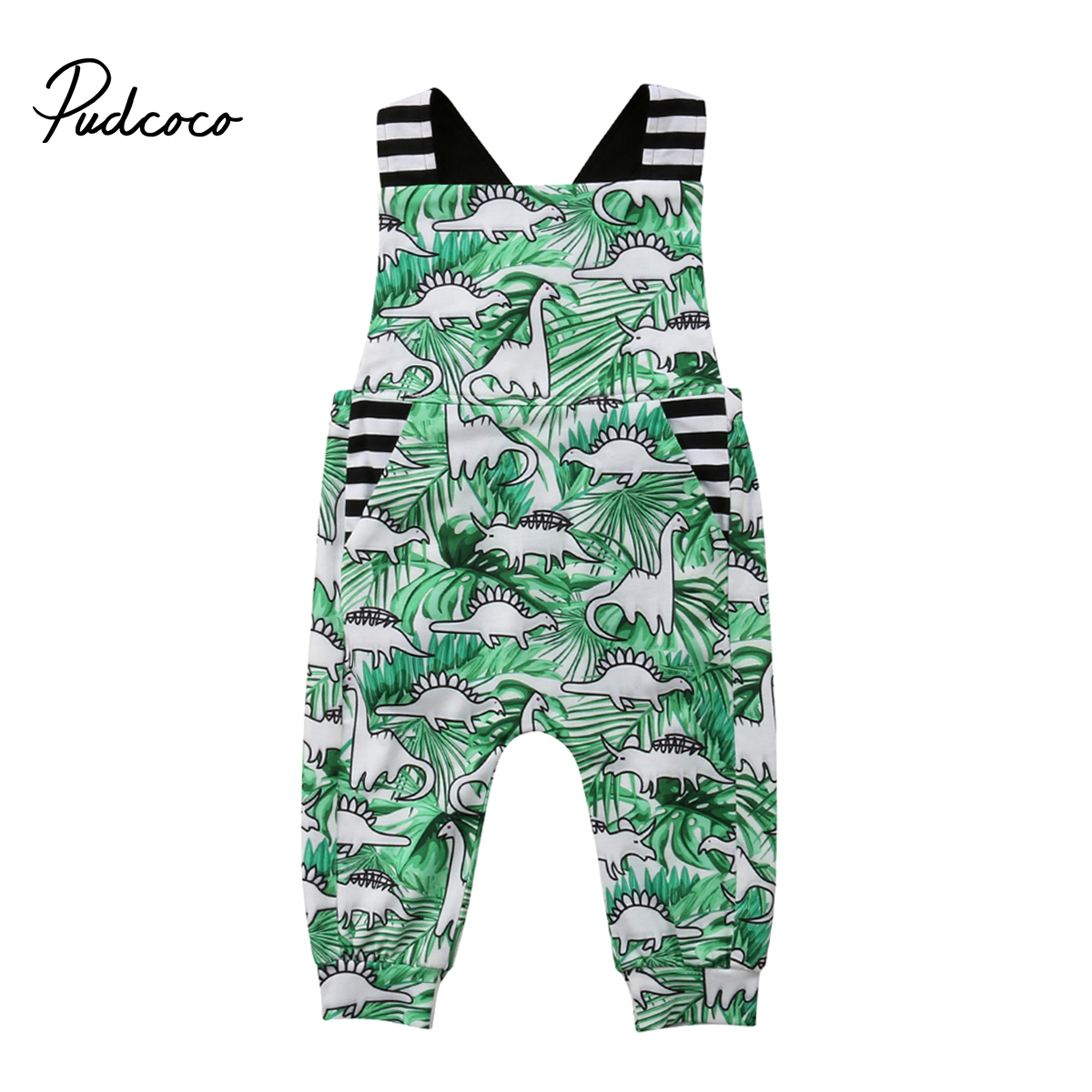 Pudcoco 2018 Toddler Newborn Baby Boy Girl Romper Dinosaur Print Sleeveless Braces Jumpsuit Sunsuit Summer Clothes Outfits 6-36M