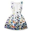 Imprimir Muchachas de La Princesa Niños Vestido de Partido Tela Fantasia Vestidos Los Niños Del Vestido Del Verano Del Bebé Niños Vestidos de Dibujos Animados