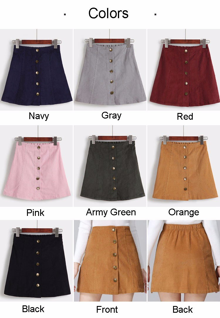 Saia 2016 Autumn vintage fashion corduroy high waist sexy mini skirt winter short a line skirts black gray casual skirts A802 a