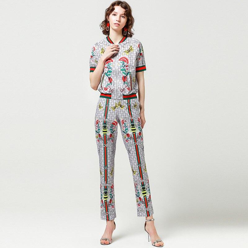 New Design Fashion Runway Suit 2018 Fashion New Women Short Sleeve Zip Top + Stripe Insect Print Pants Set