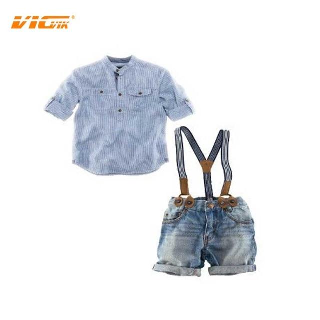 VICVIK brand 2017 New Children Clothing Set Kids Boys Short Sleeve T-Shirt Denim Suspenders Denim Shorts Two Piece Set a086